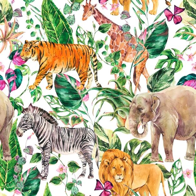 水彩のジャングルのシームレスなパターン、サファリ動物の花夏のテクスチャです。熱帯水彩画キリン、象。 Premium写真