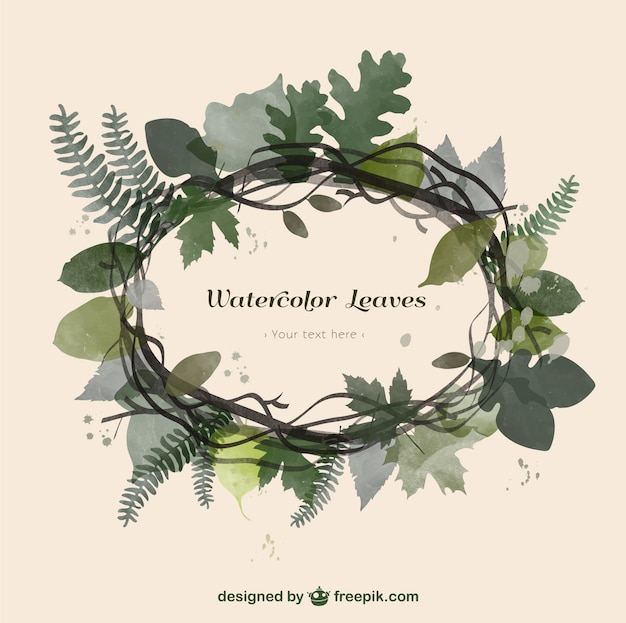 Watercolor Leaves Frame Vector Free Download