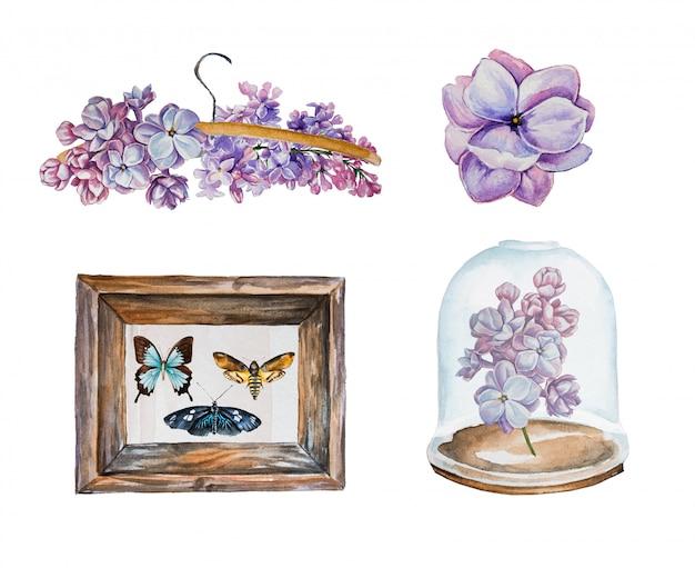 水彩ライラックと蝶クリップアートセット。白で隔離されるライラックの花 Premium写真