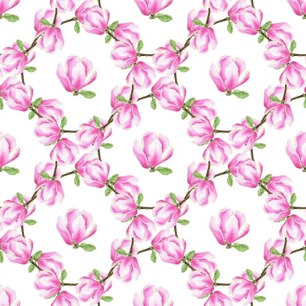 Watercolor magnolia seamless pattern. fashion pink flowers texture. can be used for wrapping, fabric and textile, wallpaper and package design Premium Photo