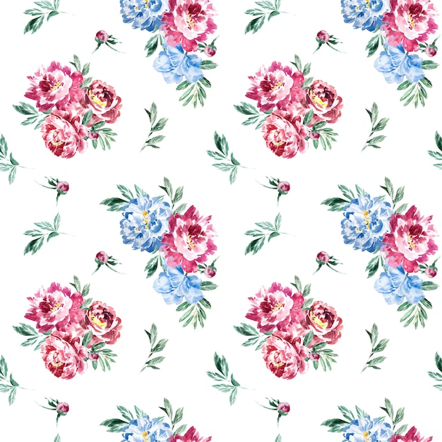 Watercolor marsala and navy blue peony seamless pattern. Premium Photo