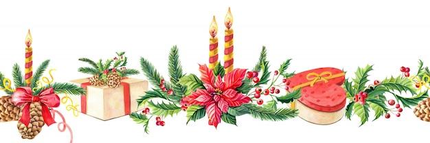 Watercolor merry christmas seamless border. Premium Photo