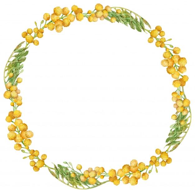 水彩のミモザリース。黄色い春の花のフレーム。手描きイラスト。 Premium写真