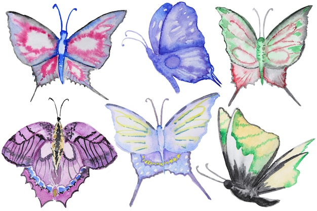 Watercolor multicolor butterflies set isolated on white Premium Photo