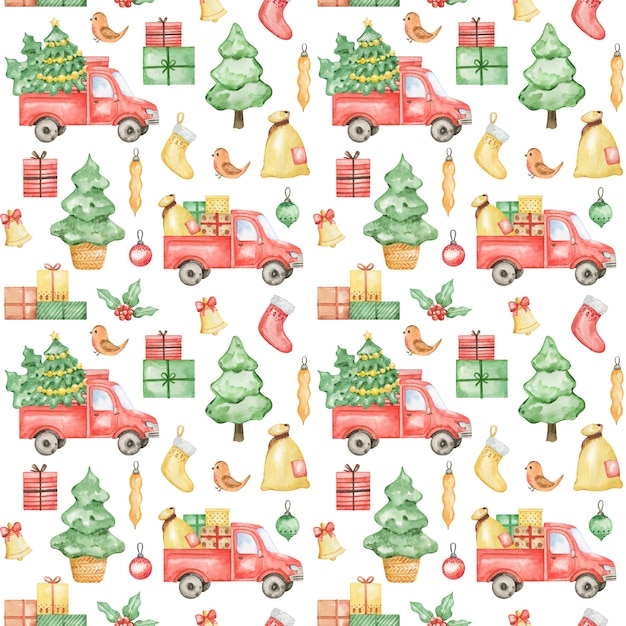 Watercolor new year 2021 pattern, merry christmas background, hand drawn christmas pattern, winter textile  design, christmas truck, spruce tree, gift, xmas pattern design, wrapping paper Premium Photo