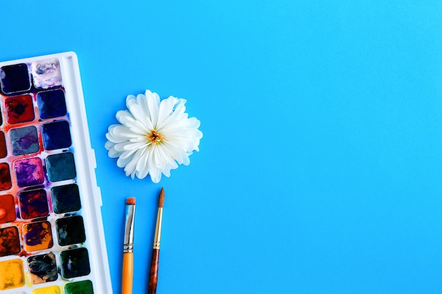 Watercolor paint, brushes and flower with white petals on a blue background concept of creativity Premium Photo
