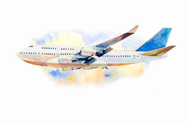 Watercolor painting of airplane on sky Premium Photo