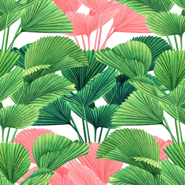 Watercolor painting colorful tropical leaves seamless pattern background. Premium Photo