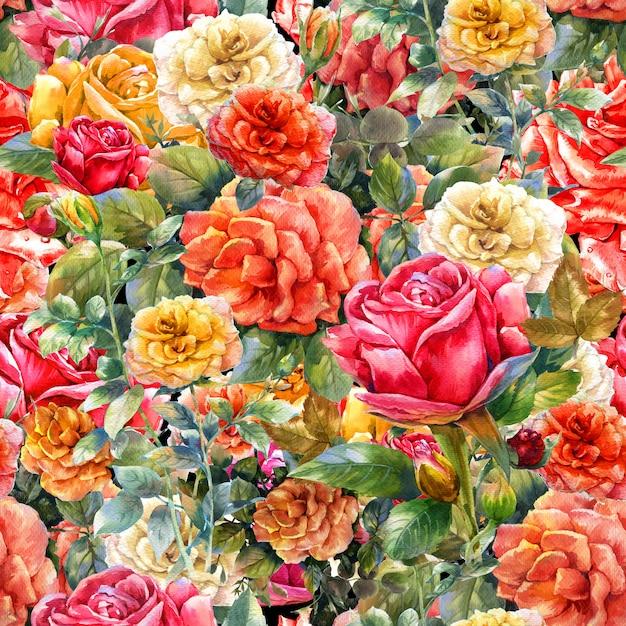 Watercolor painting of flowers rose pattern Premium Photo