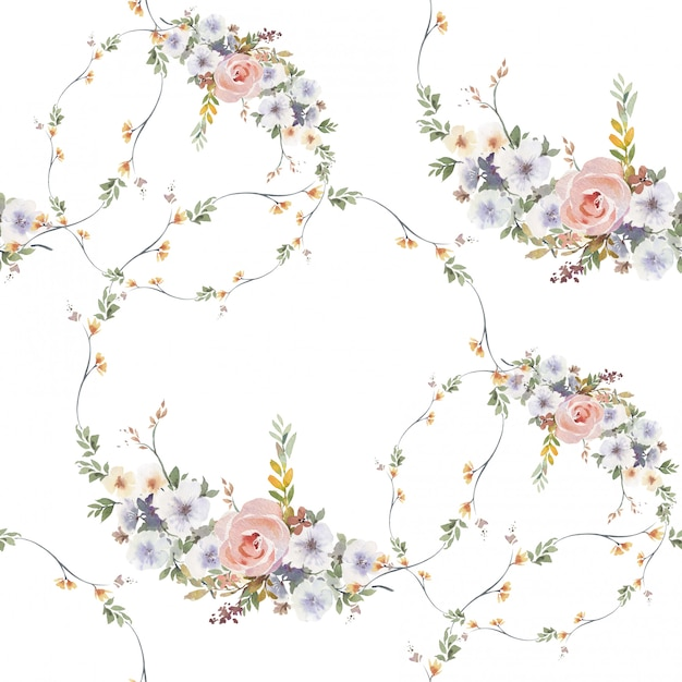 Watercolor painting of leaf and flowers, seamless pattern on white background Premium Photo