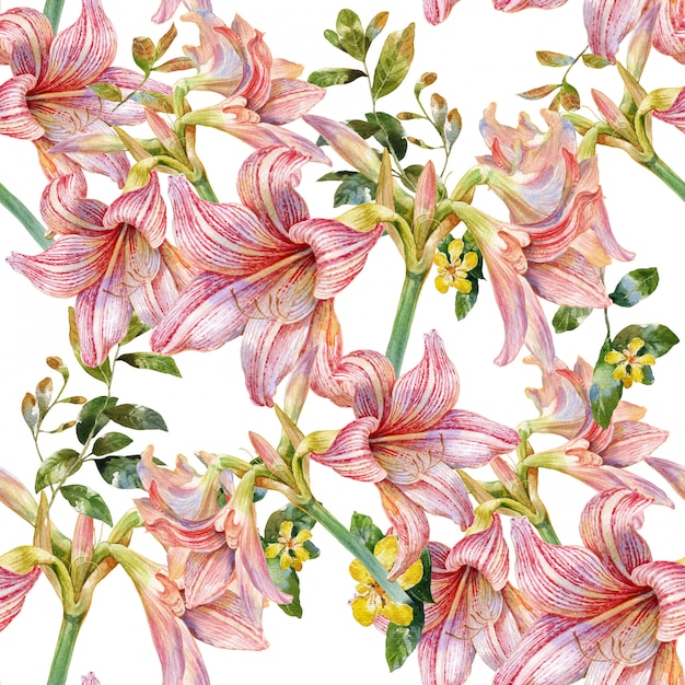 Watercolor painting of leaf and flowers seamless pattern on white Premium Photo