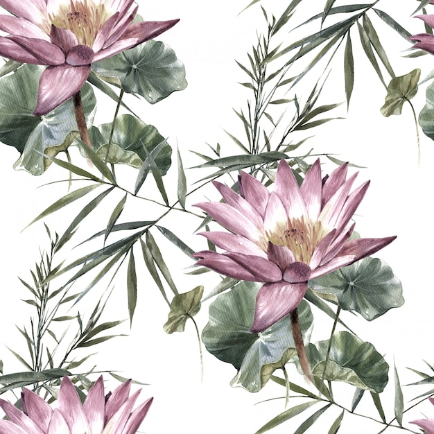 Watercolor painting of leaf and flowers, seamless pattern on white Premium Photo
