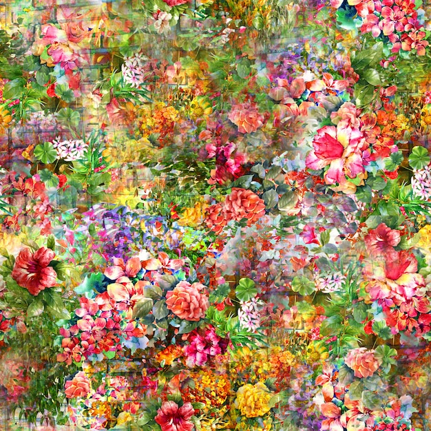 Watercolor painting of leaf and flowers, seamless pattern Premium Photo