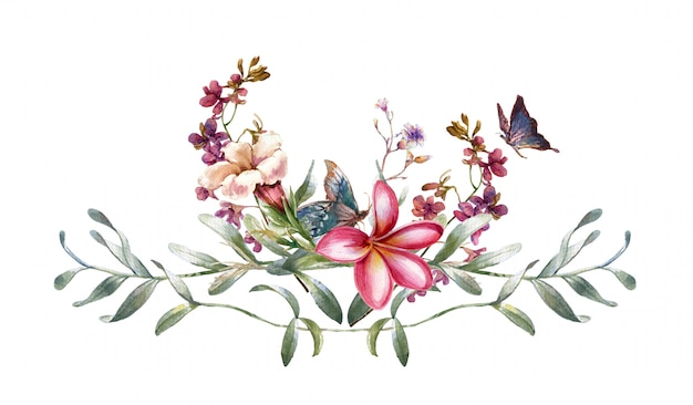 Watercolor painting of leaves and flower Premium Photo