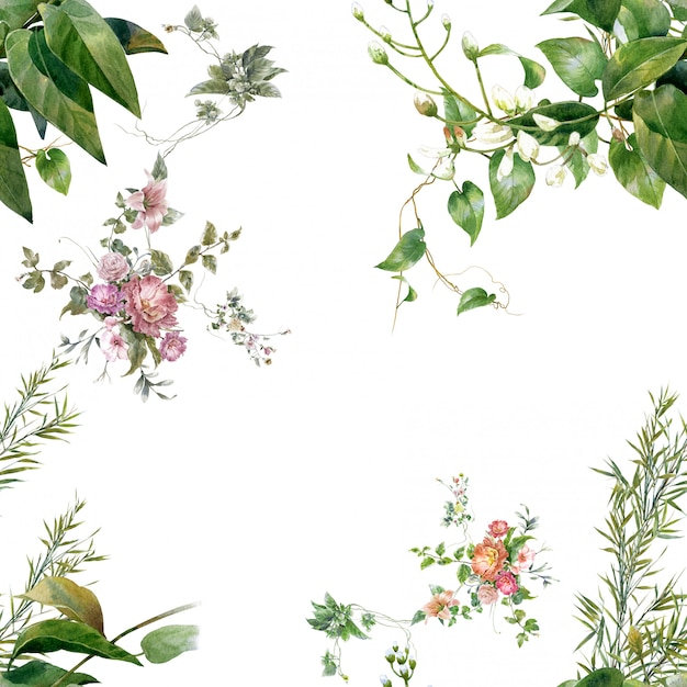 Watercolor painting of leaves and flowers Premium Photo