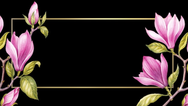 Watercolor painting magnolia blooming flower. Premium Photo