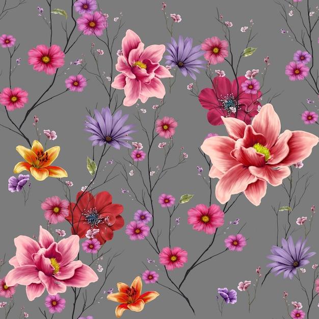 葉と花、シームレスなパターン背景の水彩画 Premium写真