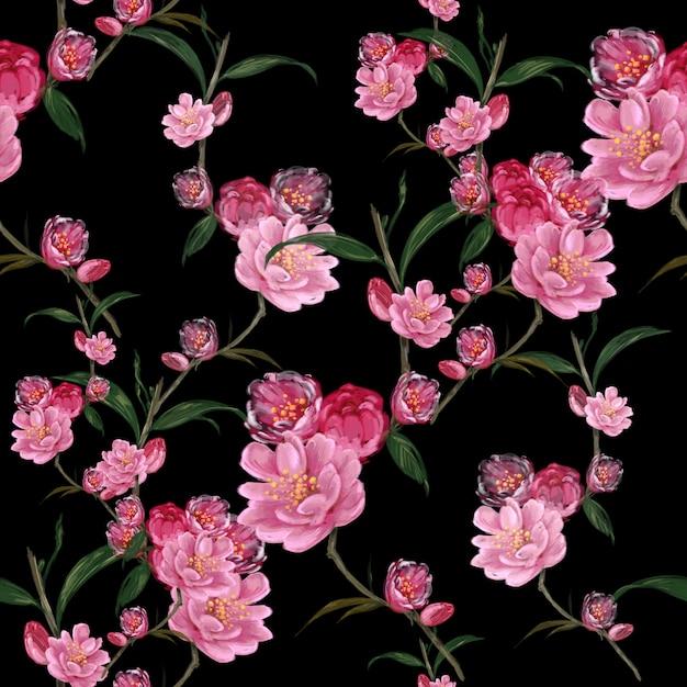 葉と花の水彩画、暗い背景にシームレスパターン Premium写真