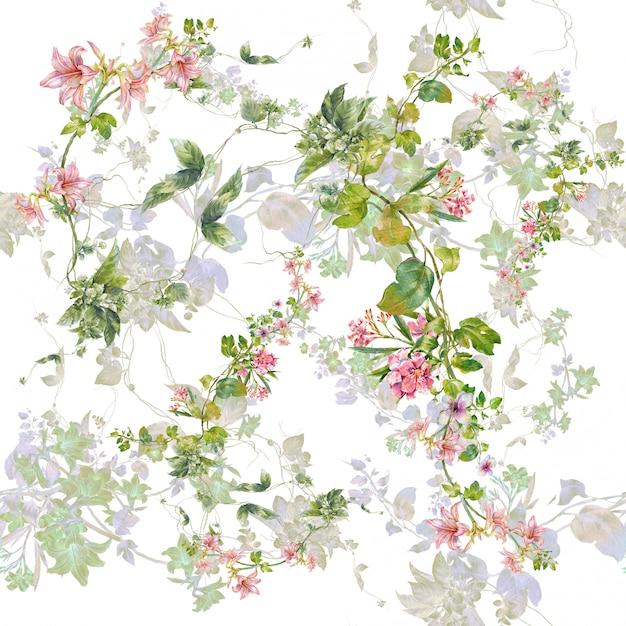 葉と花の水彩画、白のシームレスパターン Premium写真