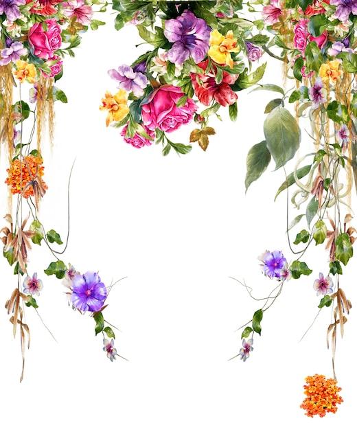 葉と花、白い背景の水彩画 Premium写真