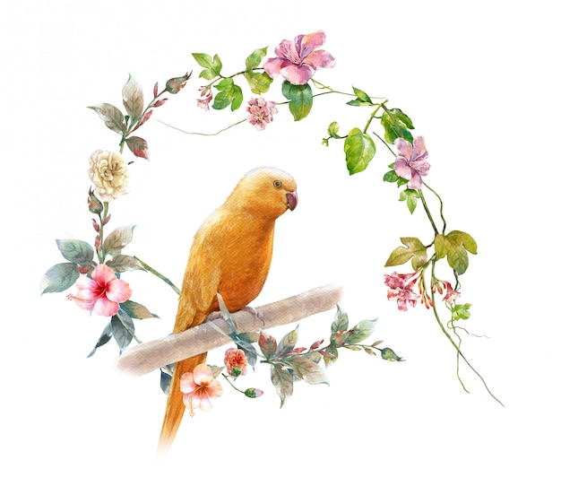 Watercolor painting with bird and flowers, Premium Photo