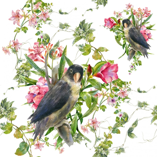 Watercolor painting with birds and flowers, seamless pattern on white Premium Photo