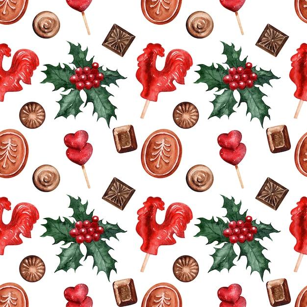 水彩パターンクリスマスホリデーお菓子 Premium写真