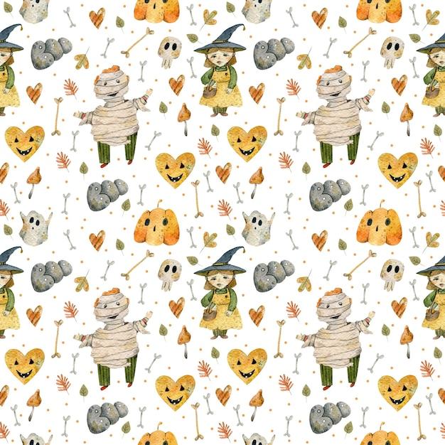 Акварельный рисунок персонажей и предметов хэллоуина Premium Фотографии