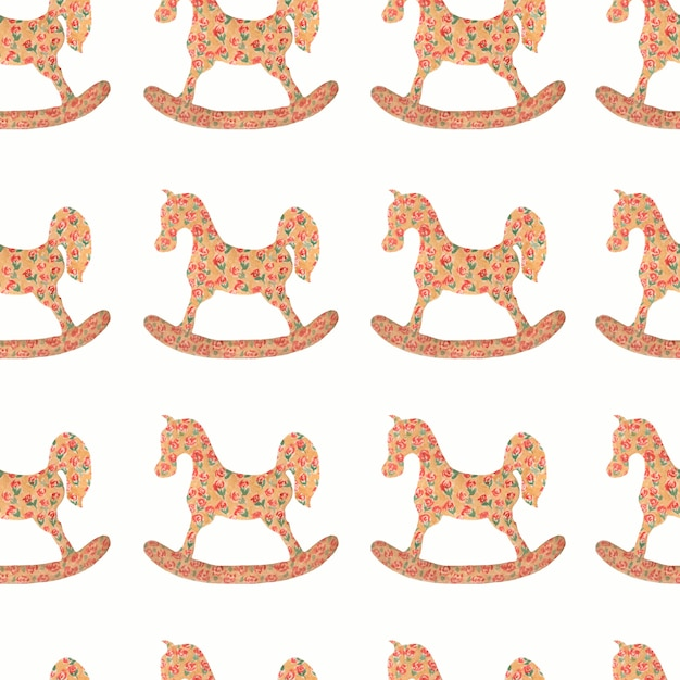 Watercolor pattern of rocking horse Premium Photo