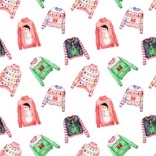 Watercolor pattern of ugly christmas sweaters on white Premium Photo