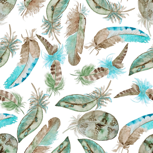 Watercolor pattern with feathers Premium Photo