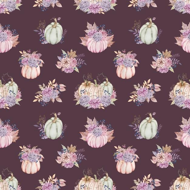 ダリアとアスター、ベリー、紅葉のカボチャの花束と水彩画のパターン。 Premium写真