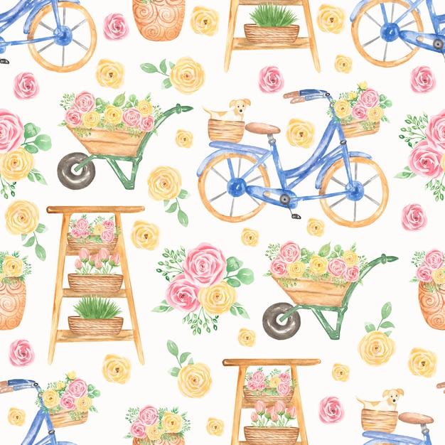 水彩のピンクと黄色の花柄のパターン。青い自転車、カートの花のシームレスなパターン Premium写真