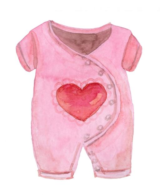 Watercolor pink bodysuit Premium Photo