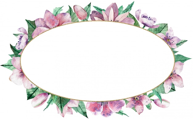 Watercolor pink floral oval frame with flowers and central white background. Premium Photo