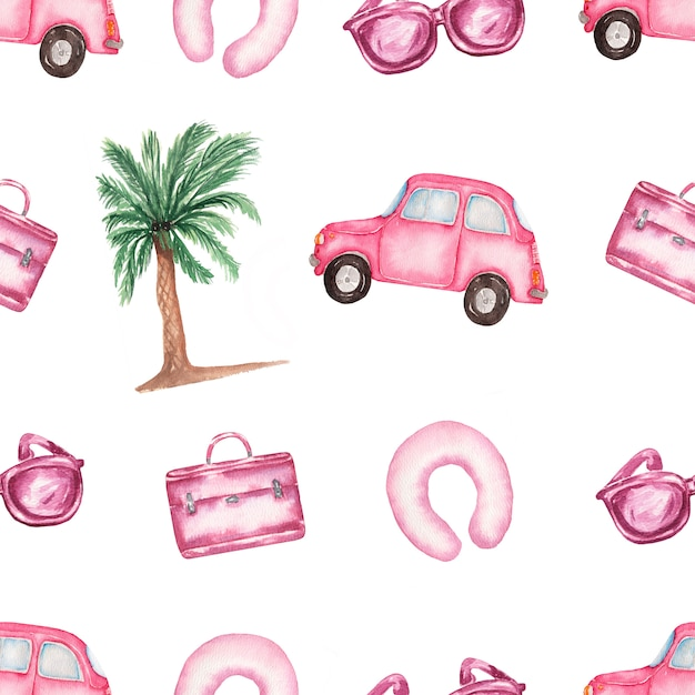 Watercolor pink holidays elements seamless pattern Premium Photo