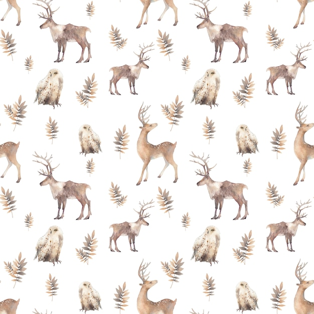Watercolor polar animals seamless pattern. hand drawn natural repeating design on white background: deer, polar owl, branches. scandinavian style texture Premium Photo
