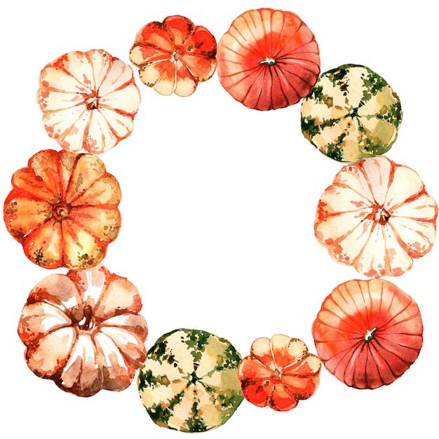 水彩カボチャの花輪 Premium写真
