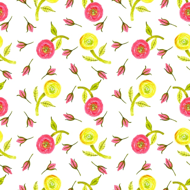 Watercolor red,yellow,lemon green ranunculus, green leaf and red rose bud seamless pattern Premium Photo