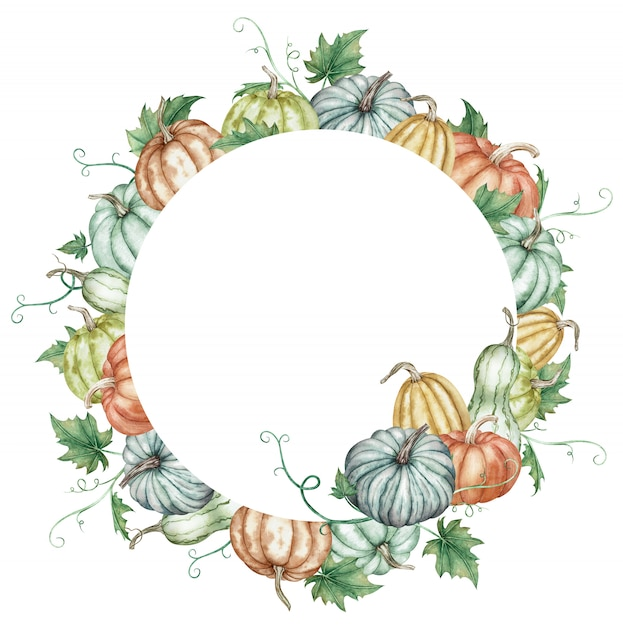 Watercolor round frame with colorful pumpkins and green leaves. botanical autumn illustration. Premium Photo