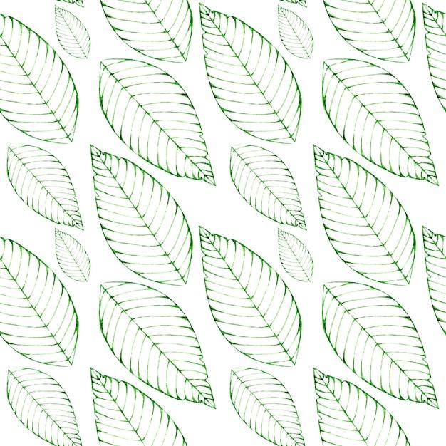 緑の葉と水彩のシームレスな背景 Premium写真