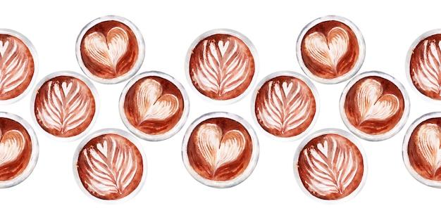 コーヒーの属性とコーヒーと水彩のシームレスな境界線 Premium写真