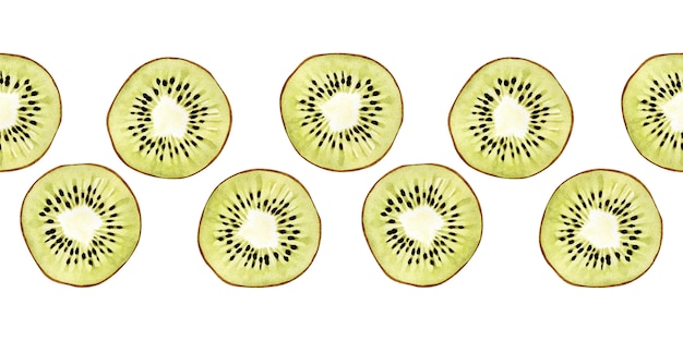 Watercolor seamless border with flowers, ripe fruits, branches and leaves of a kiwi tree Premium Photo