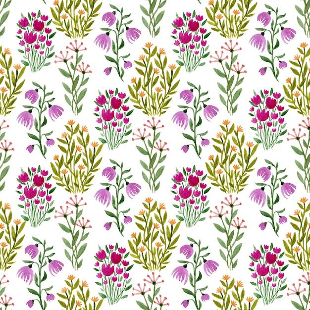 Watercolor seamless floral pattern. Premium Photo