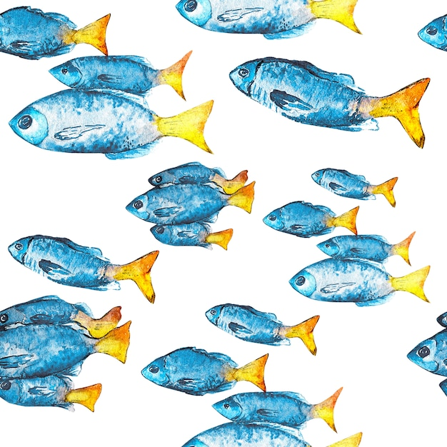 Watercolor seamless pattern from fish. Premium Photo