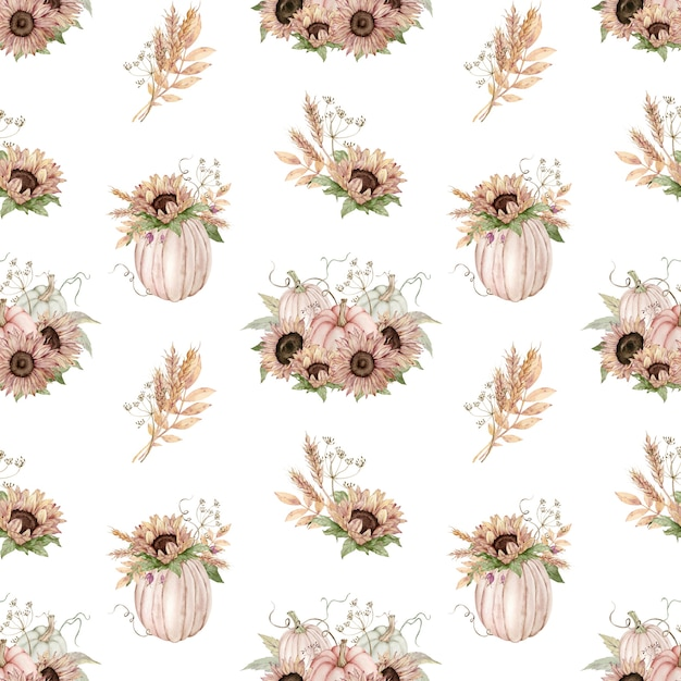 Акварельный фон из пастельных тыкв, украшенных подсолнухами Premium Фотографии