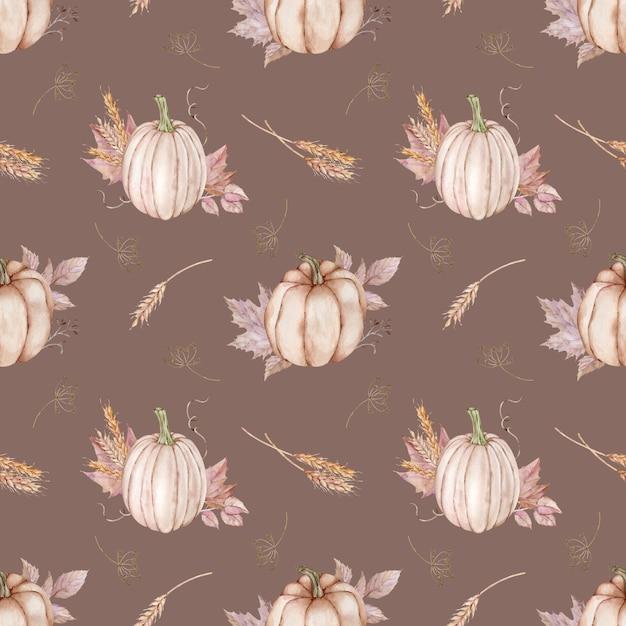 秋の葉、小麦の穂、ディルとカボチャの水彩画のシームレスなパターン。 Premium写真