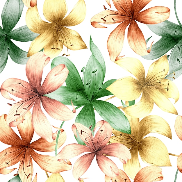 Watercolor seamless pattern of summer flowers and leaves on a light background. Premium Photo