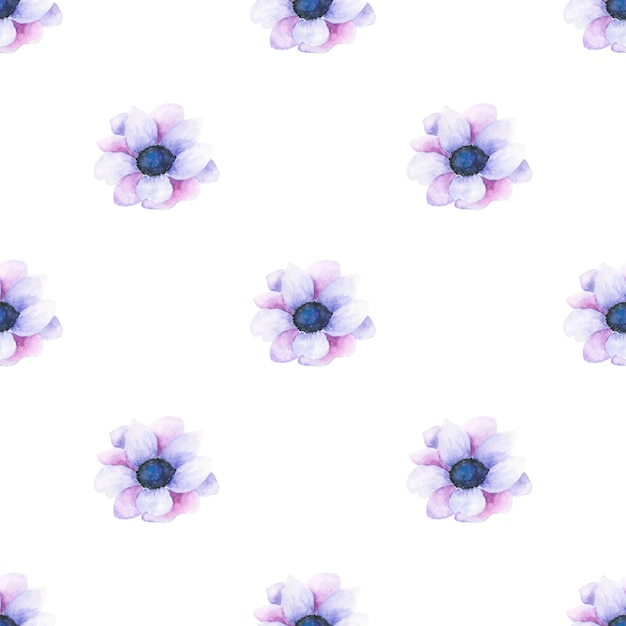 Watercolor seamless pattern of summer flowers and leaves on a light background Premium Photo