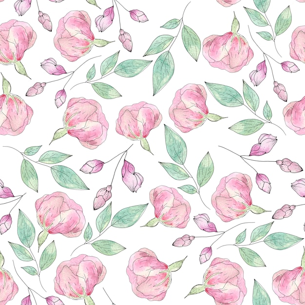Watercolor seamless pattern of summer flowers and leaves Premium Photo